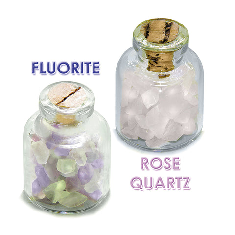 Ancient Runes Love Inguz Gebo Laguz Inspirational Amulets Glass Stones Fluorite Rose Quartz Bottles