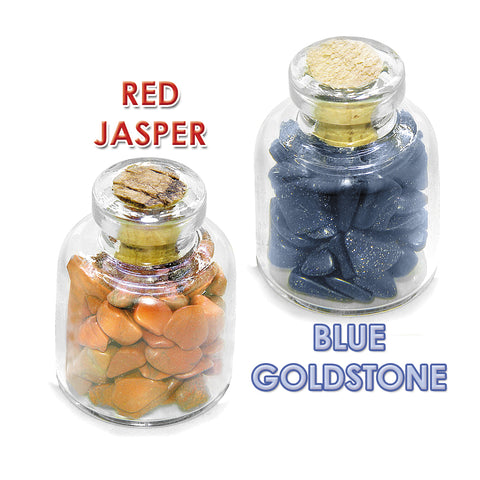 Ancient Zodiac Scorpio Yin Yang Powers Birthstones Red Jasper Goldstone Magic Glass Stones Bottles