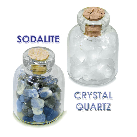 Throat Chakra Magic Positive Healing Inspirational Amulets Glass Stones Sodalite Quartz Bottles Set