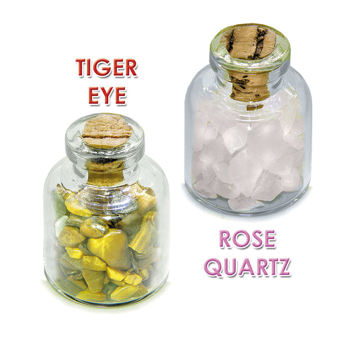 Ancient Zodiac Virgo Yin Yang Powers Birthstones Tiger Eye Rose Quartz Magical Glass Stones Bottles