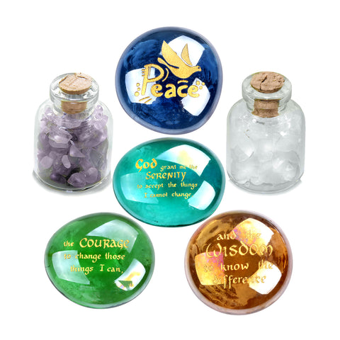 Serenity Courage Wisdom Encouragement Inspirational Amulets Glass Stones Amethyst Quartz Bottles
