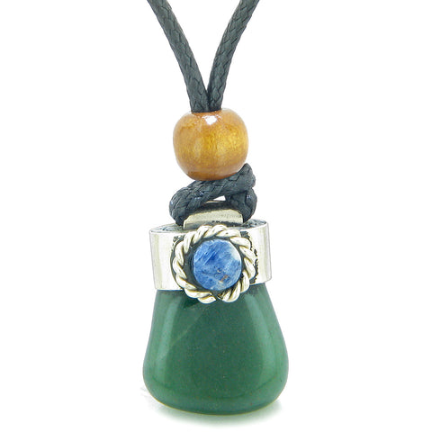 Handcrafted Free Form Tumbled Green Quartz and Sodalite Cabochon Amulet Pendant Adjustable Necklace