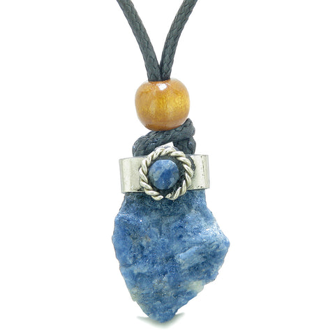 Handcrafted Free Form Rough Sodalite and Sodalite Cabochon Amulet Pendant Adjustable Necklace