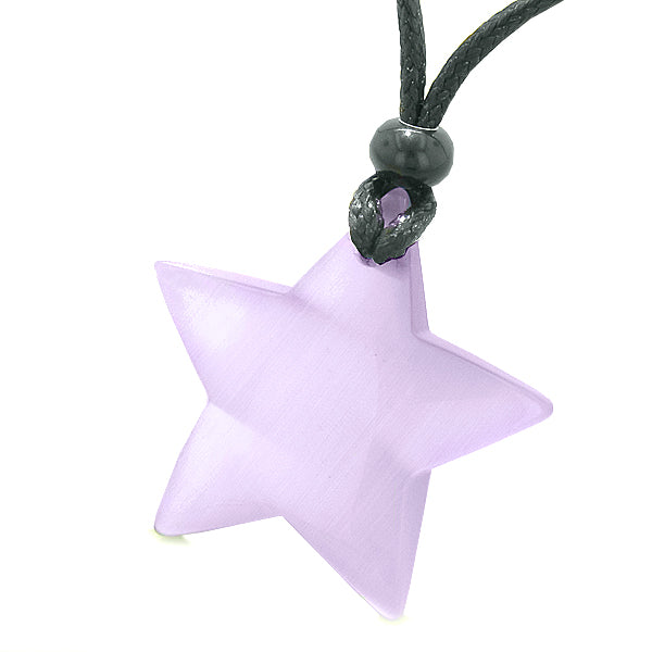 Amulet Magic Super Star Positive Powers Purple Cat's Eye Crystal Lucky Charm Pendant Necklace