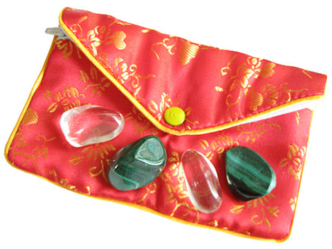 Travel By Air Talisman Pouch In Malachite And Crystals