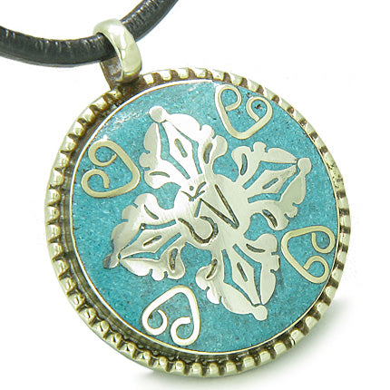 Amulet Ancient OM and Tibetan RDO RJE Magic Symbols Medallion Turquoise Circle Pendant Necklace