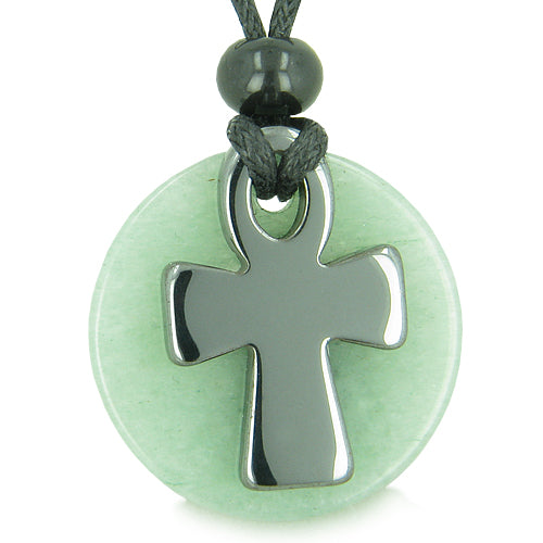 Ankh Egyptian Power of Life Medallion Amulet Good Luck Protection Aventurine Hematite Necklace
