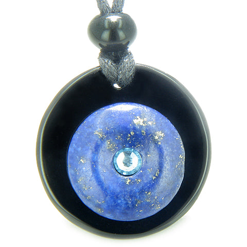 Double Lucky Donut Medallion Sky Blue Swarovski Eye Crystal Onyx Lapis Lazuli Magic Necklace