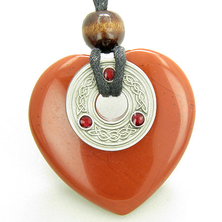 Celtic Triquetra Knot Protection Amulet Jasper Heart Necklace