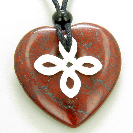 Celtic Bone Cross and Good Luck Amulet Red Jasper Heart Necklace