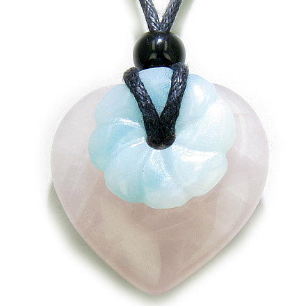 Kids Double Lucky Good Luck Rose Quartz Amazonite Heart Necklace