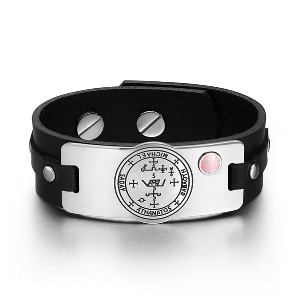 Archangel Michael Sigil Magic Powers Amulet Pink Simulated Cats Eye Black Leather Bracelet