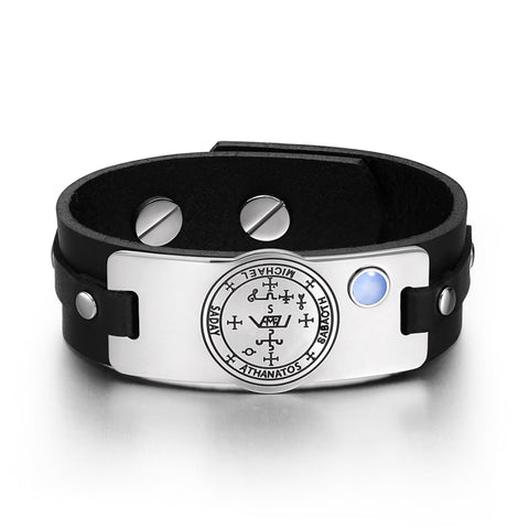 Archangel Michael Sigil Magic Powers Amulet Blue Simulated Cats Eye Black Leather Bracelet
