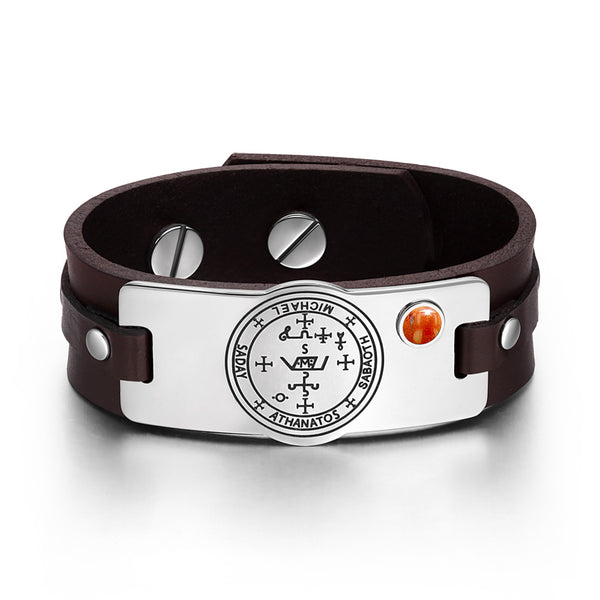 Archangel Michael Sigil Magic Powers Amulet Red Jasper Gemstone Adjustable Brown Leather Bracelet