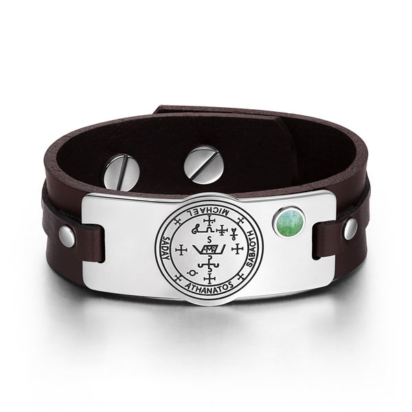 Archangel Michael Sigil Magic Powers Amulet Green Quartz Gemstone Adjustable Brown Leather Bracelet