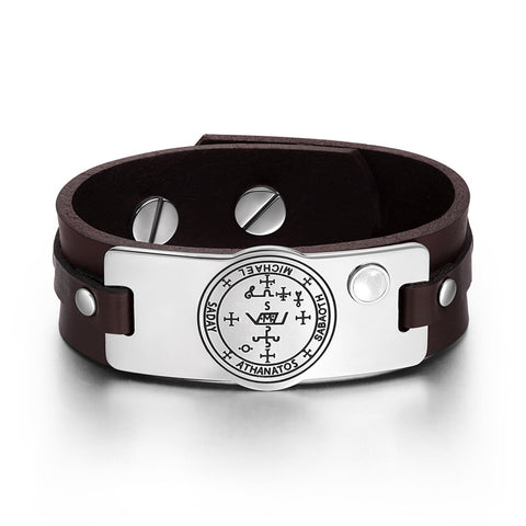 Archangel Michael Sigil Magic Power Amulet White Simulated Cats Eye Brown Leather Bracelet