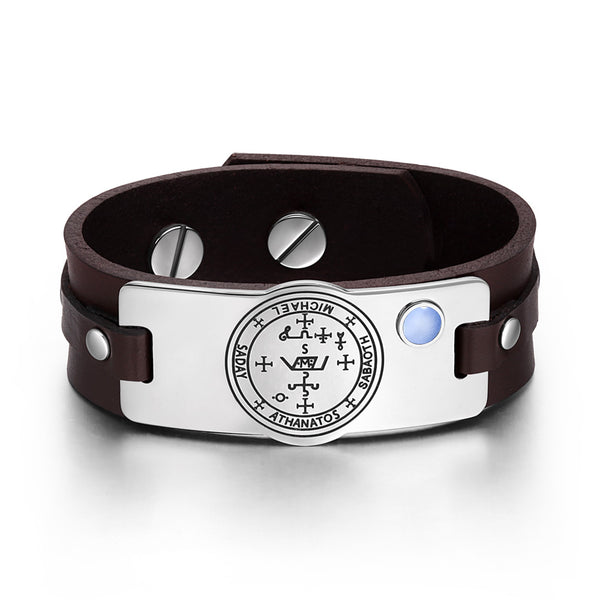 Archangel Michael Sigil Magic Powers Amulet Blue Simulated Cats Eye Brown Leather Bracelet