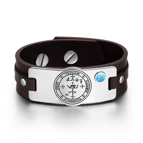 Archangel Michael Sigil Magic Powers Amulet Simulated Turquoise Adjustable Brown Leather Bracelet