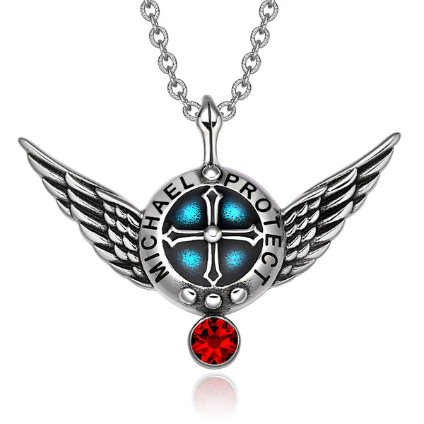 Archangel Michael Angel Wings Shield Protection Magic Power Amulet Pendant Necklace