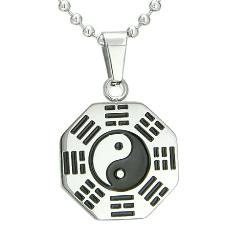 "Amulet Yin Yang BA GUA Eight Trigrams Stainless Steel Lucky Charm Pendant on 22"" Chain Necklace"