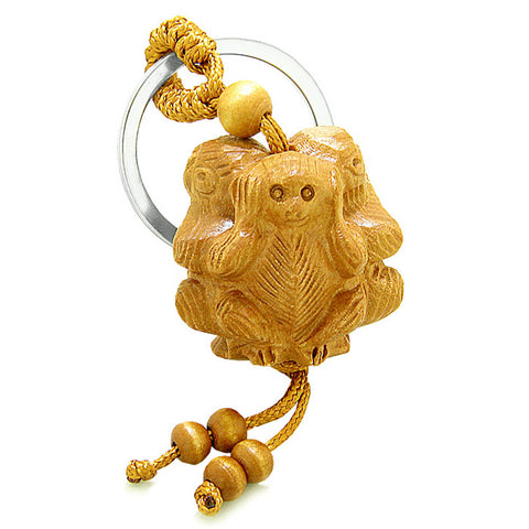 Amulet No Hear See Talk Triple Lucky Wise Monkeys Good Luck Charm Protection Feng Shui Keychain Blessing