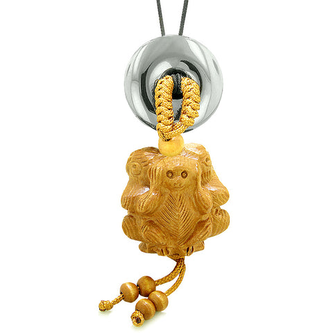 Wise Monkeys No Hear See Talk Car Charm or Home Decor Hematite Lucky Coin Donut Protection Amulet