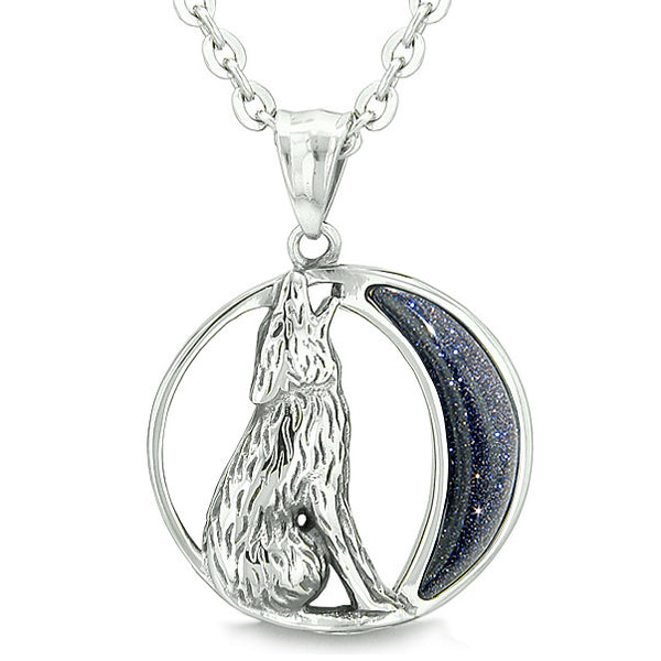 "Amulet Howling Wolf and Wild Moon Spiritual Powers Blue Goldstone Pendant on 18"" Necklace"