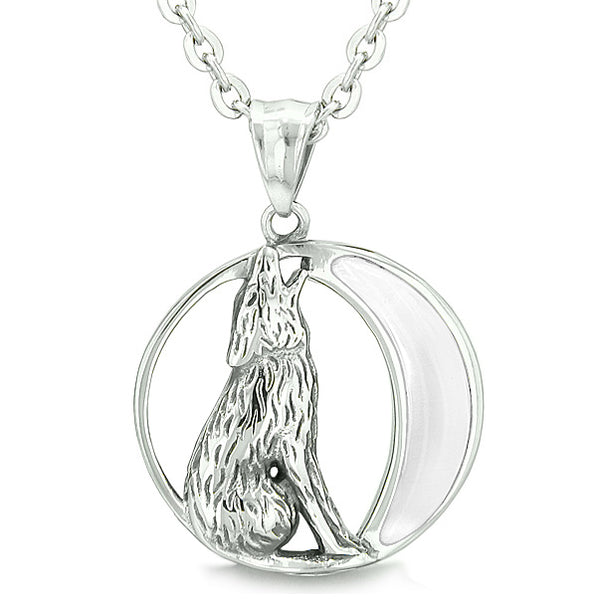 Amulet Howling Wolf and Wild Moon Spiritual Powers White Cats Eye Pendant on 22 Inch Necklace