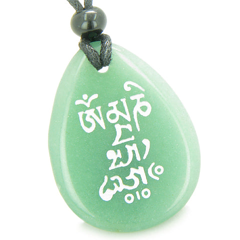 Tibetan Mantra Om Mani Padme Hum Good Luck Amulet Green Aventurine Totem Gem Stone Necklace