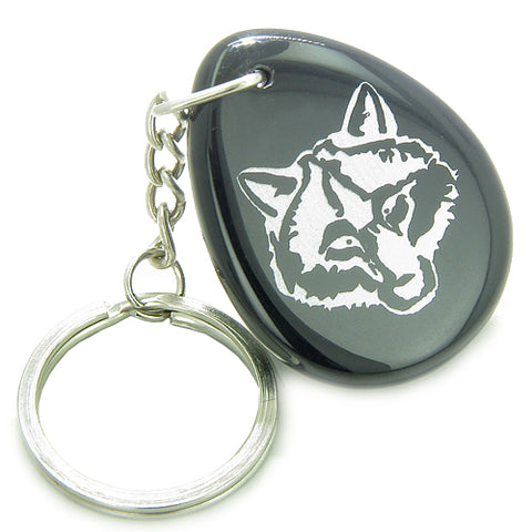 Lucky and Protection Wolf Head Amulet Black Onyx Wish Stone Keychain