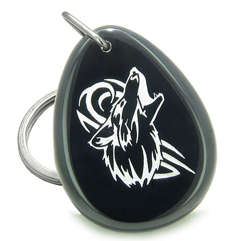 Amulet Courage Howling Wolf Spiritual Powers Onyx Totem Stone Keychain Ring
