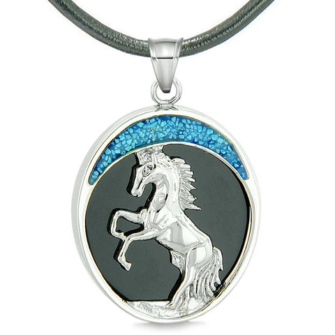Courage Horse Wild Moon Mustang Protection Powers Amulet Simulated Black Onyx Pendant Necklace