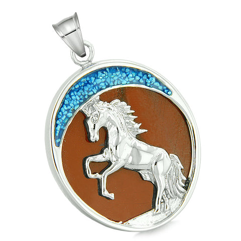 Courage Horse Wild Moon Mustang Magic Protection Powers Amulet Red Jasper Pendant 22 Inch Necklace