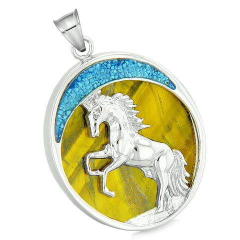 Courage Horse Wild Moon Mustang Magic Protection Powers Amulet Tiger Eye Pendant 18 Inch Necklace