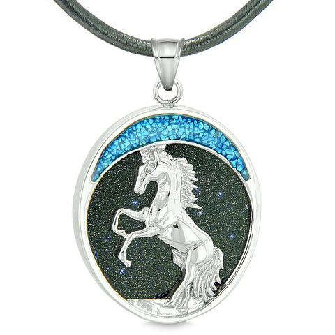 Courage Horse Wild Moon Mustang Magic Protection Powers Amulet Blue Goldstone Pendant Necklace
