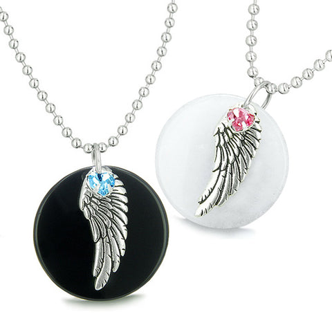Amulets Angel Wings Love Couple or Best Friends Set Onyx Jade Swarovski Elements Hearts Necklaces