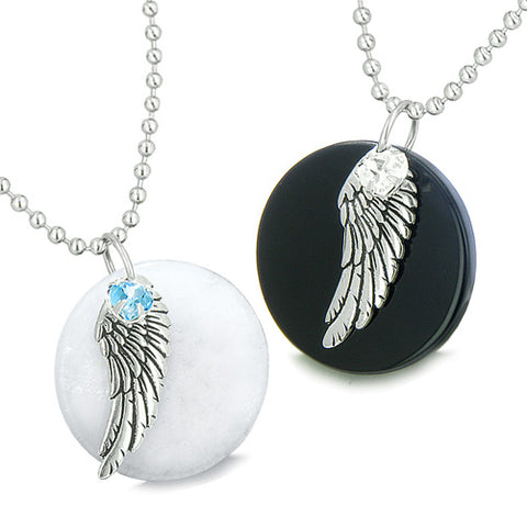 Amulets Angel Wings Love Couple or Best Friends Set Jade Onyx Swarovski Elements Hearts Necklaces