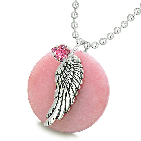 Amulet Angel Wing Pink Jade MedalliPink Swarovski Elements Heart Lucky Feather Pendant Necklace