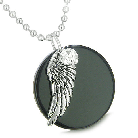 Amulet Angel Wing Onyx Medallion White Swarovski Element Heart Lucky Charm Feather Pendant Necklace
