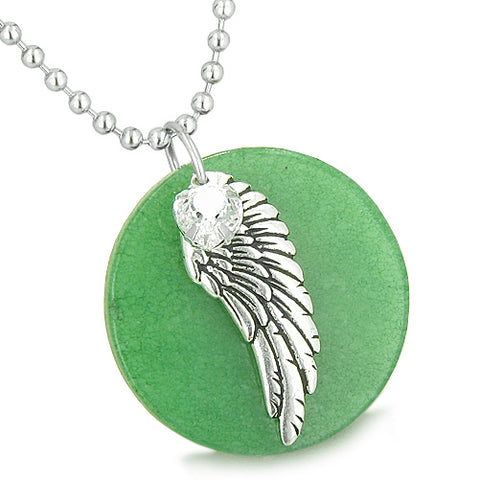 Amulet Angel Wing Green Jade Medallion White Swarovski Element Heart Charm Feather Pendant Necklace