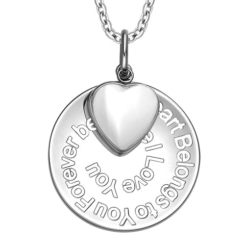 My Heart Belongs to You Forever Inspirational Pendant Heart Charm Necklace