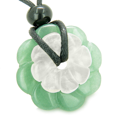 Double Lucky Amulet Magic Flowers Donuts Green Aventurine Rose Quartz Crystal Love Pendant Necklace