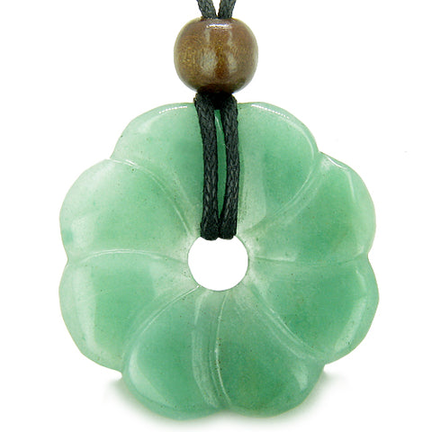 Large Flower Lucky Charm Donut Amulet Green Aventurin Crystal Money Good Luck Pendant Necklace