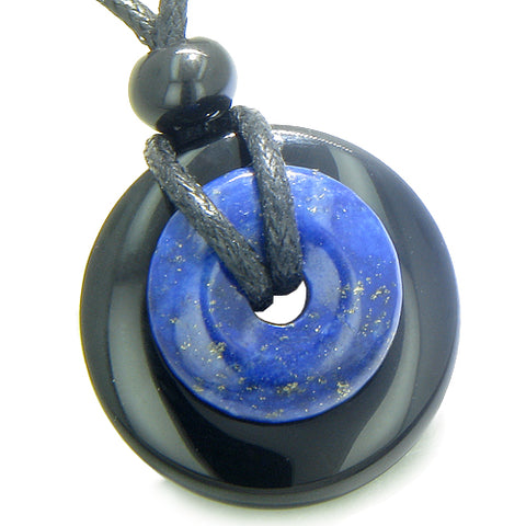 Double Lucky Magic Amulet Donuts Black Onyx Lapis Lazuli Spiritual Good Luck Power Pendant Necklace