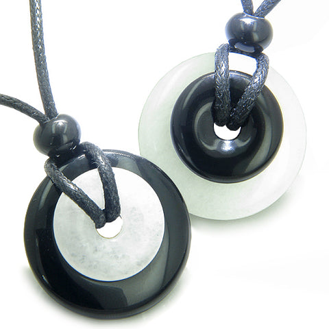 Double Lucky Yin Yang Love Couples Best Friends Amulets Magic Powers Donuts Onyx Jade Necklaces