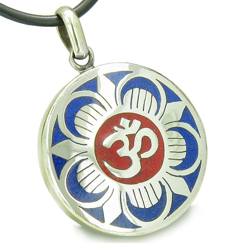 Amulet Ancient OM and Magic Lotus Tibetan Lapis Lazuli Red Turquoise Medallion Pendant Necklace
