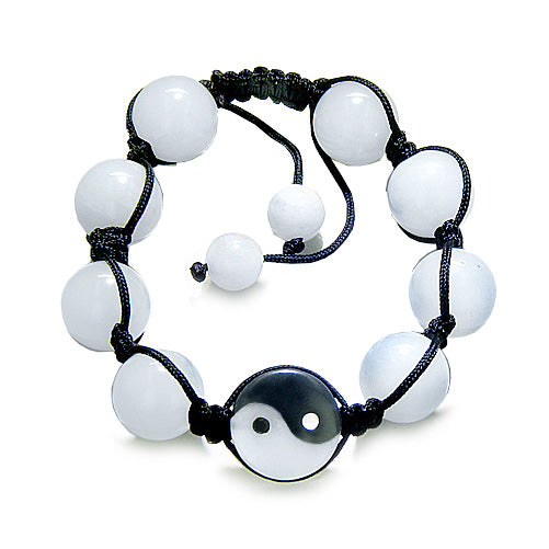 Yin Yang Love Couple or Best Friends Balance Positive Energy Amulet Bracelets Jade Onyx Gemstones