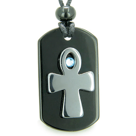 Ankh Egyptian Spiritual Powers of Life Magic Amulet Blue Swarovski Crystal Onyx Hematite Necklace