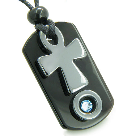 Ankh Egyptian Spiritual Powers of Life Amulet Blue Swarovski Crystal Onyx Hematite Pendant Necklace
