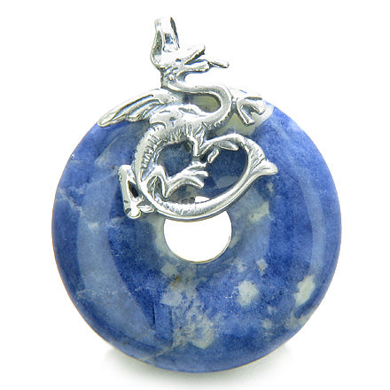 Dragon Good Luck Magic Amulet Lucky Donut Sodalite Gemstone Sterling Silver Pendant